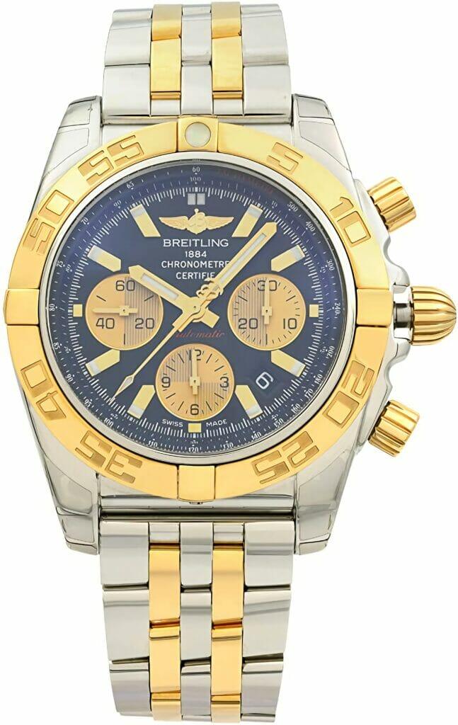 Breitling Chronomat 44 Black Dial Solid 18k Rose Gold / Steel Men's Watch CB0110121B1C1