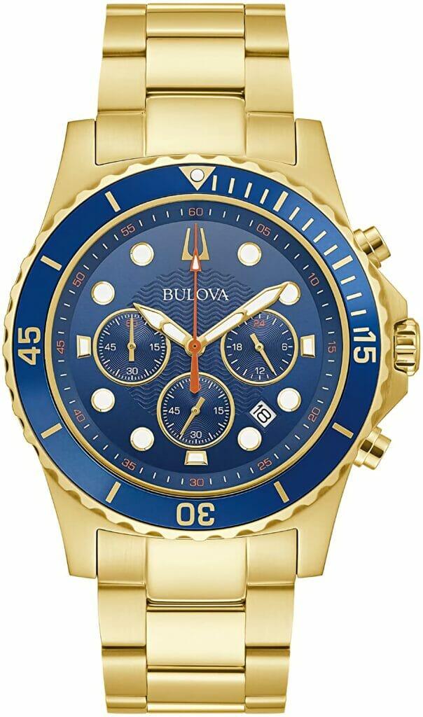 Bulova Men's Classic Quartz Dress Watch with Stainless Steel Strap, Gold-Tone, 22 (Model: 98B377)