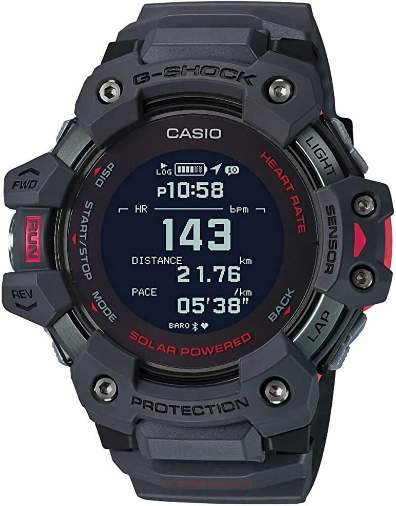 Casio Men's G-Shock Move, GPS + Heart Rate Running Watch, Quartz Solar Assisted Watch with Resin Strap, Gray,