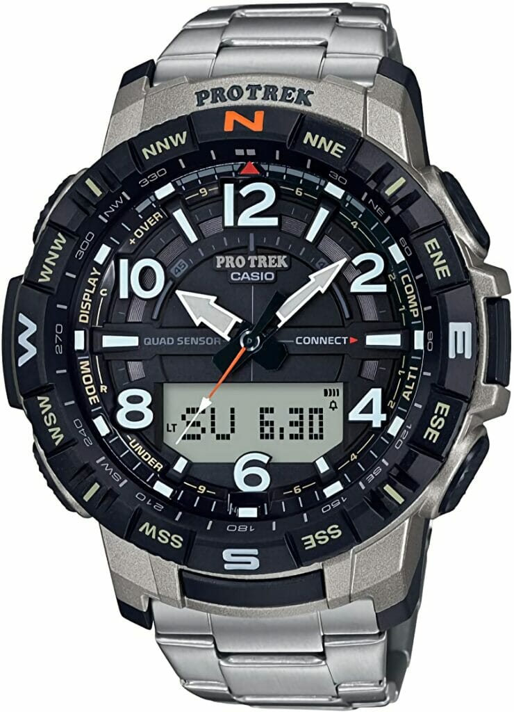 Casio Men's Pro Trek Bluetooth Connected Quartz Fitness Watch with Titanium Strap, Silver, 23