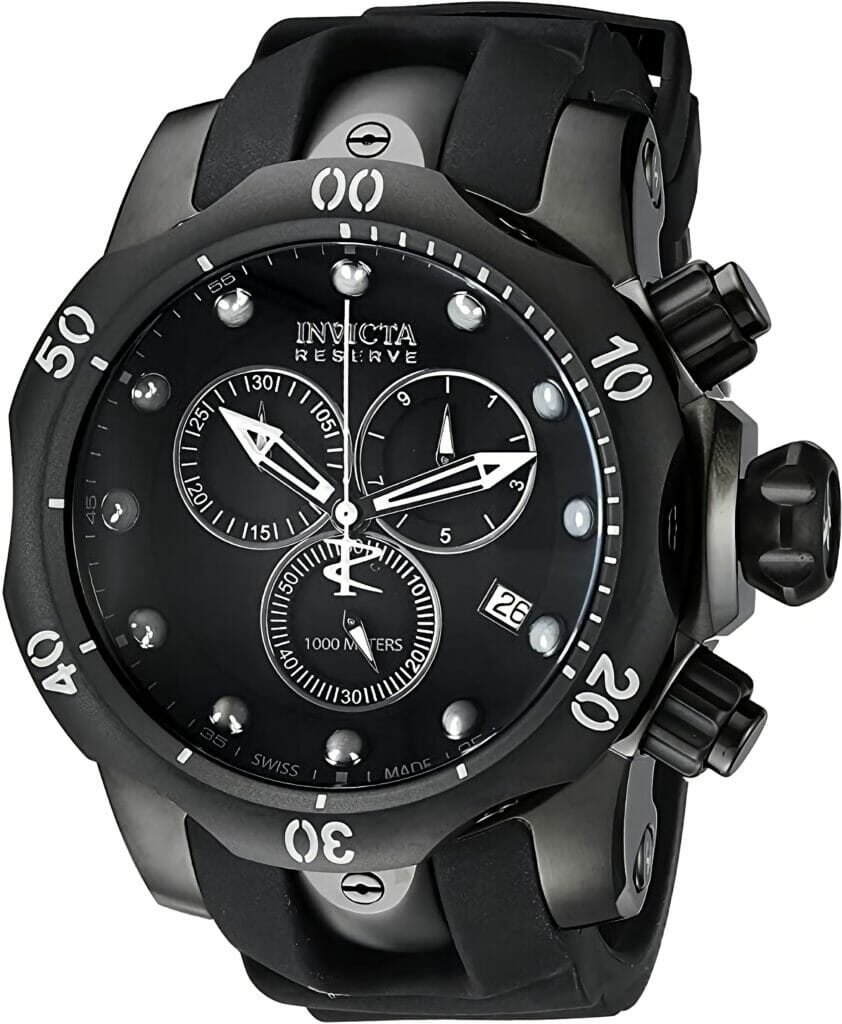 Invicta Men's INVICTA-6051 Venom Reserve Black Stainless Steel Watch with Polyurethane Band